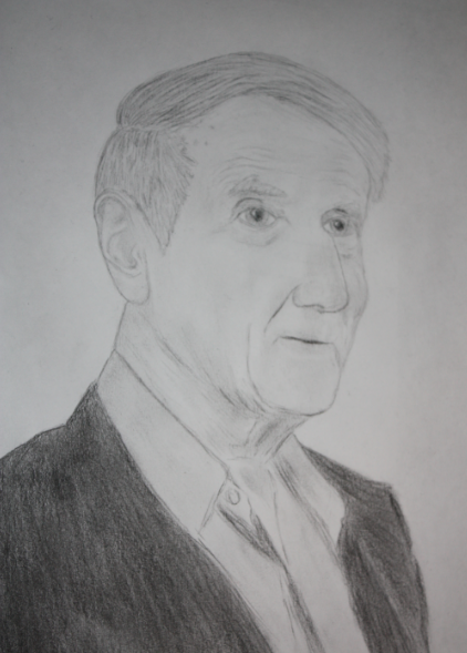 Dr. Peter Dale Scott charcoal portrait